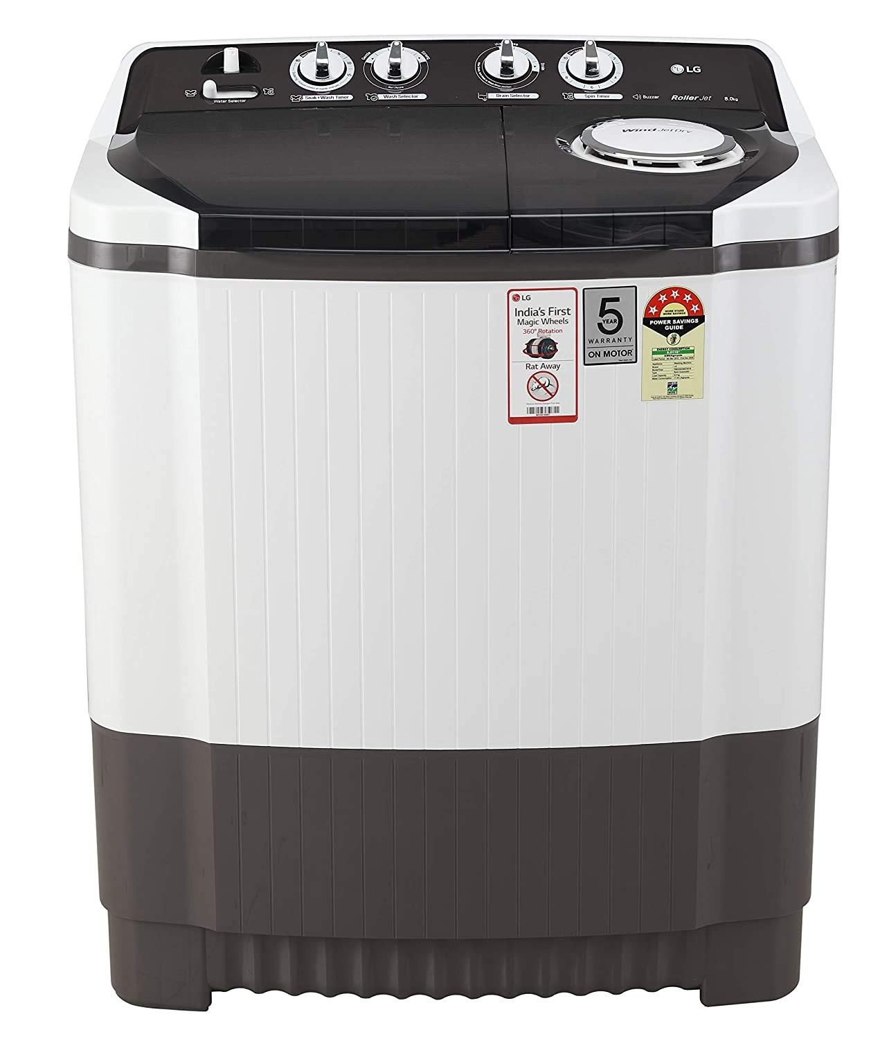 LG 8 Kg 5 Star Semi-Automatic Top Loading Washing Machine (P8035SGMZ, Grey)