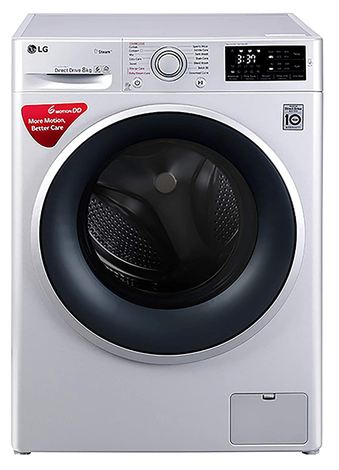 LG 8.0 Kg Inverter Fully-Automatic Front Loading Washing Machine (FHT1208SNL,  Luxury Silver)