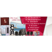 "32"" GLOBAL LED TV+  Sansui 2 Tub Washing Machine + 190 Refrigirator + Ghar ghanti +  AC Cooler + Music System + Surprise Gift"
