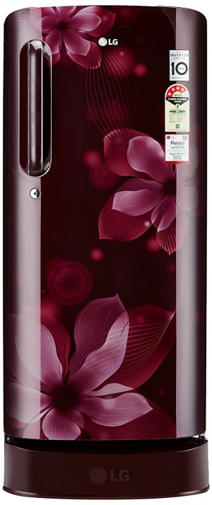 LG 190 L 4 Star Direct-Cool Single Door Refrigerator (GL-D201ASOX.ASOZEBN, Scarlet Orchid)